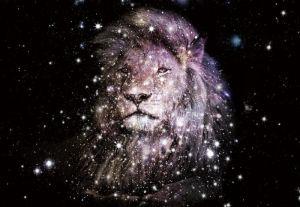 Leeuw Sterren Galactisch Ruimte Glas Schilderij 160x110