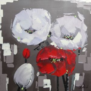 Schilderij twee moderne bloemen 80x80