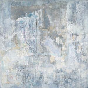 Schilderij licht blauw abstract 80x80