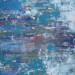 Schilderij blauw abstract 80x80
