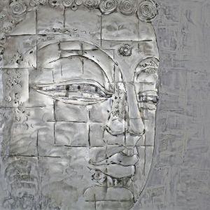 Schilderij grijze boeddha 100x100