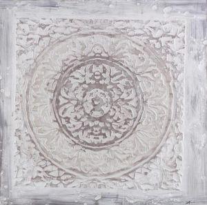 Schilderij ornament wit beige 100x100