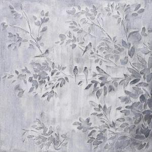 Schilderij grijze struik en vogels 80x80