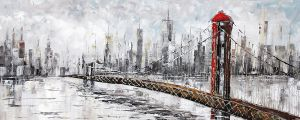 Olieverf schilderij rode Brooklyn Bridge