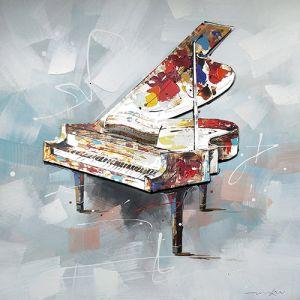 Schilderij kleurrijke aluminium piano  100x100