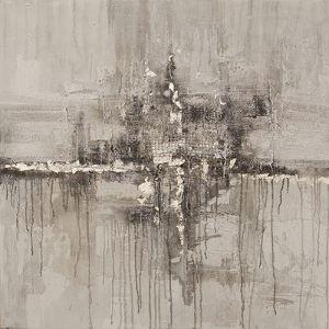 Schilderij grijs abstract gaas structuur 100x100