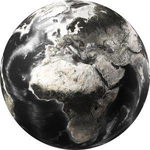 Rond glas schilderij foto kunst zwart witte wereldkaart