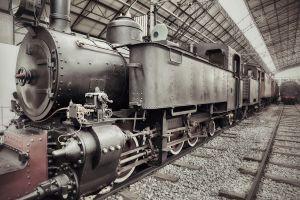 Locomotief oldtimer in trein museum