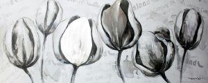 Grijze Witte Tulpen Schilderij