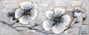 Drie Wit Grijze Boterbloemen Schilderij
