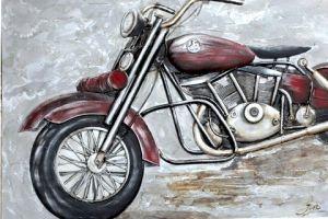 Metalen Rode Chopper Schilderij