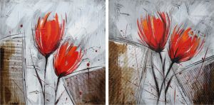 Schilderij rode bloemen 120x60