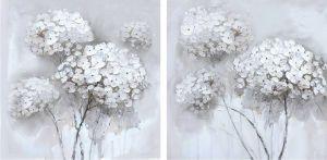 Schilderij witte moderne bloemen 120x60