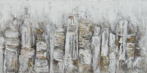 Schilderij grijs goud abstract structuur 140x70
