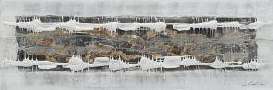 Schilderij abstract structuur balk 150x50