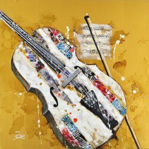 Schilderij gele moderne Cello 100x100