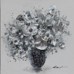 Schilderij witte bloemen 3D 80x80