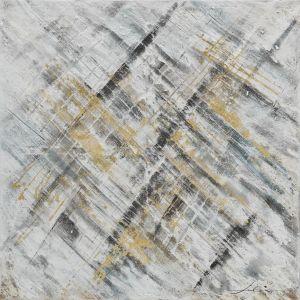 Schilderij beige zwart abstract 100x100