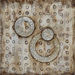 Schilderij corrosie cirkels 80x80