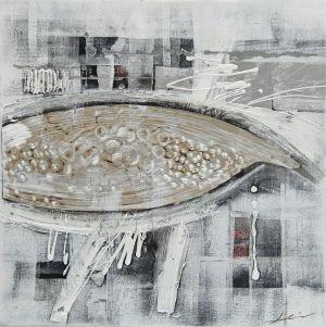 Schilderij grijs structuur abstract 80x80