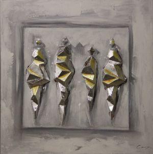 Schilderij moderne goud zilver kristallen 80x80