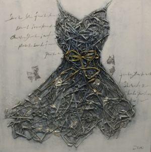 Schilderij unieke jurk 100x100