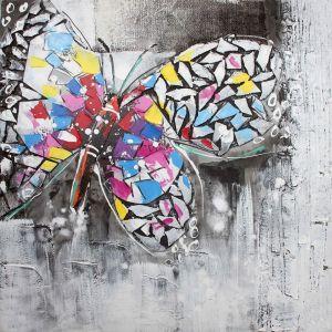 Schilderij kleurrijke vlinder grijs 80x80