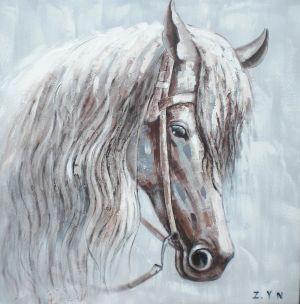 Schilderij wit bruin paard 80x80