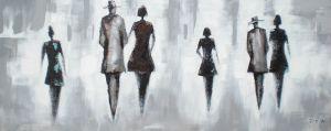 Schilderij Figuranten Zwart Grijs 150x60