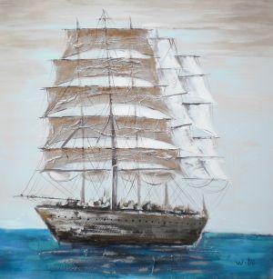 Schilderij grote zeilboot 100x100