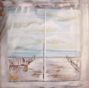 Schilderij raam zeezicht 100x100