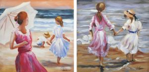 Schilderij strandtafereel 120x60