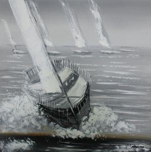 Schilderij zeilboot 100x100
