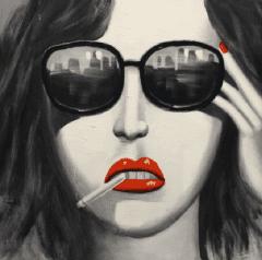 Schilderij vrouwelijke tinten 100x100