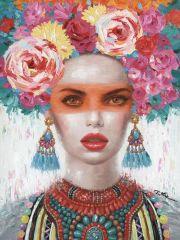 Vrouw Bloemen Make Up Rood Olieverf Kunst 90x120