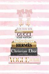 Louboutin Pumps Roze Merken Hermes Dior Vogue Goudfolie 60x80