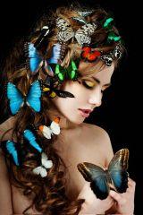 Kleurrijke Vlinder Vrouw Halfnaakt Glas Schilderij 80x120
