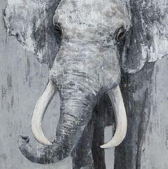 Schilderij grijze olifant 80x80