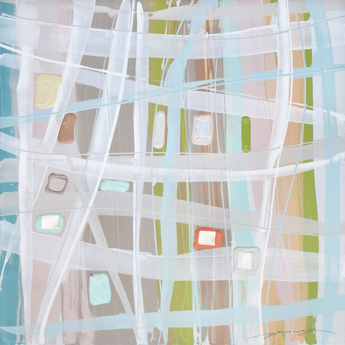 Abstracte Schilderijen: Pastel Kleuren Vakken Schilderij