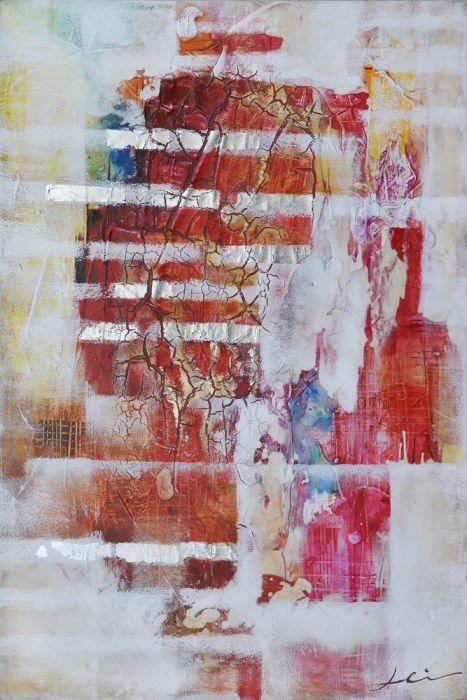 Abstracte Schilderijen: Abstract Rood Witte Lijnen Kunst
