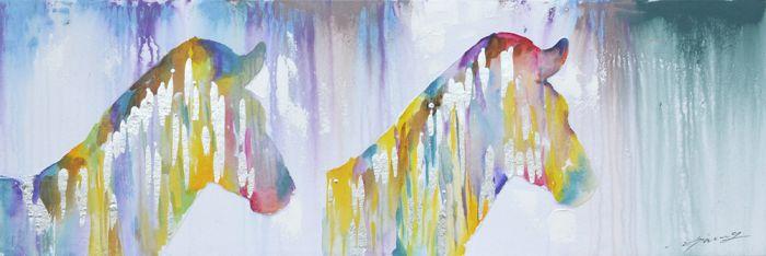 Dieren Schilderijen: Schilderij Kleurrijke Zebra's 150x50