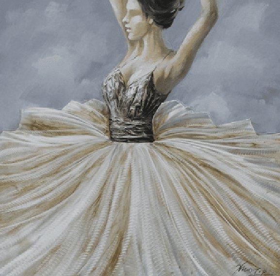Figuratieve Schilderijen: Dansende Ballerina Schilderij