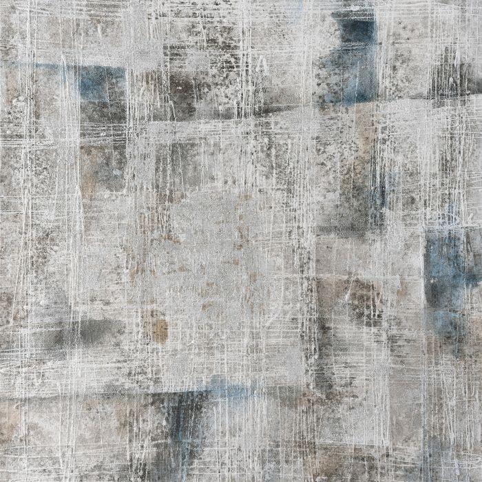 Abstracte Schilderijen: Olieverf schilderij abstract grijs zwart donkerblauw