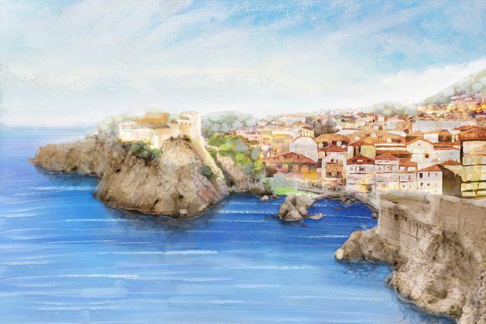 Zeezicht Schilderijen: Zeekunst Dorp Schilderij
