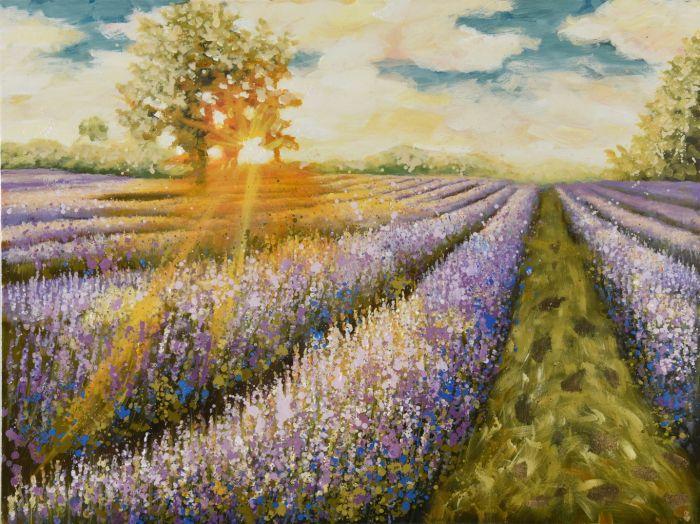 Bloemen Schilderijen: Lavendel Velden Schilderij