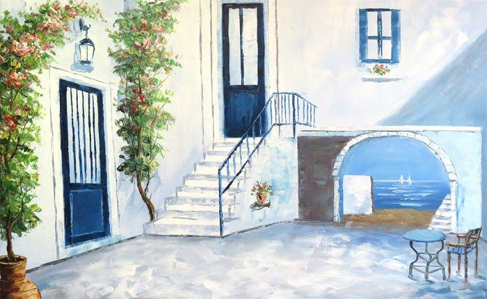 Landschappen Schilderijen: Zeezicht Lindos Huisje