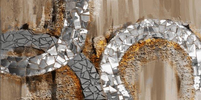 Abstracte Schilderijen: Metaal Bruin Schilderij