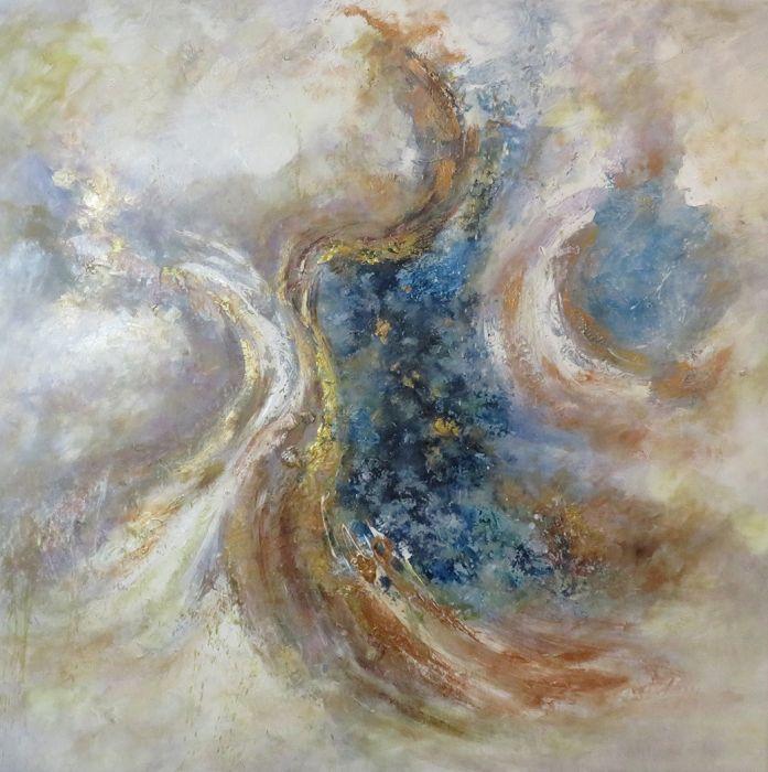 Abstracte Schilderijen: Schilderij abstract pastelkleuren bruin blauw  100x100