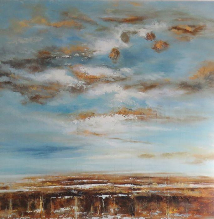Abstracte Schilderijen: Olieverf Abstract Goud Licht Blauw Bruin Schilderij 80x80