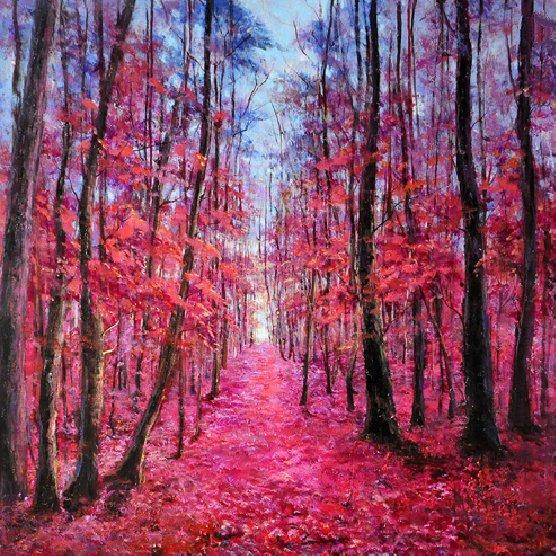 Landschappen Schilderijen: Rode Bospad Schilderij